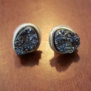 Black crystal style stud earrings